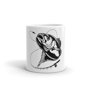 Ceramic coffee mug with fish graphics on them