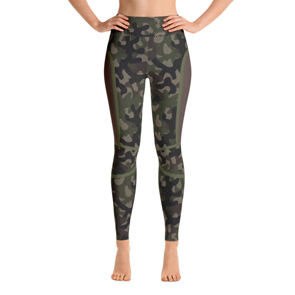 Camouflage Patterned Black-Brown Athletic Yoga Leggings