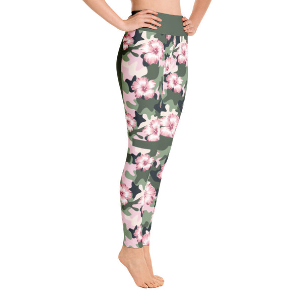 Colorful Flowers Camouflage Pink - Green  Yoga Leggings