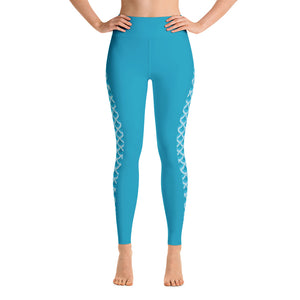 Patterned  Mermaid printed on Blue Yoga leggings