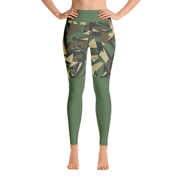 Patterned Camo Shorts Black Yoga Leggings