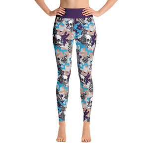 Skeleton Camo Print Purple Yoga Leggings