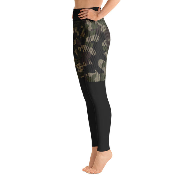 Patterned Camouflage Shorts Black Yoga Leggings