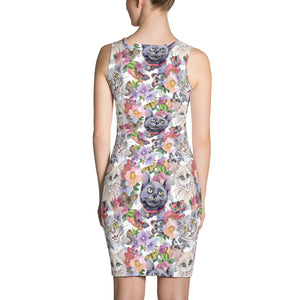 White Printed dress with water-colour cats and butterflies, for women