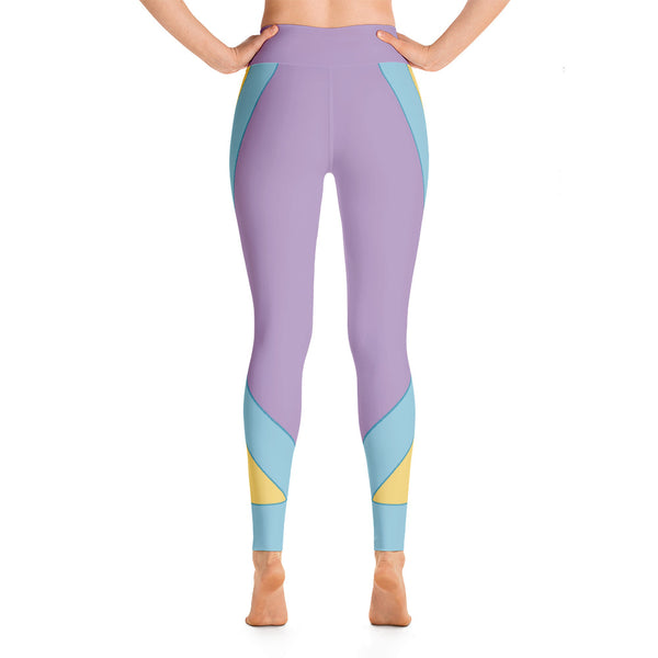 Patterned Abstract Purple Running Yoga Leggings