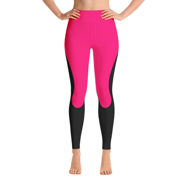 Patterned Workout Black Pink Yoga Leggings