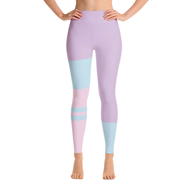 Patterned Pink Purple Running Workout Yoga Leggings