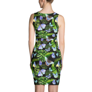 Black Printed dress with water-colour tropical leaves and butterflies, for women