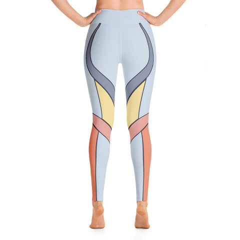 Patterned Striped Blue Orange Symmetry Yoga Leggings