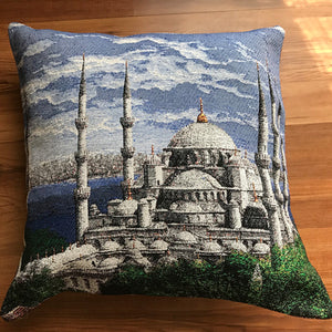 "Blue mosque cushion covers  (pair) 16""x16"""