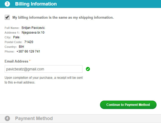 Billing information - 2Checkout payment