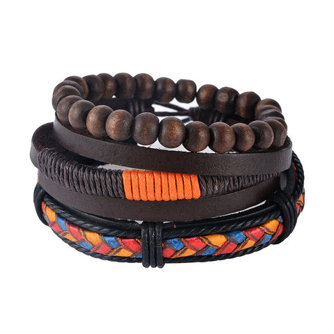 Handmaid adjustable Leather & Wood bracelet for men and women - eVita Market