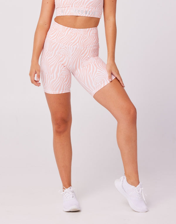 Ladies Shorts - DESERT SUN LULU BIKERS - PINK ZEBRA