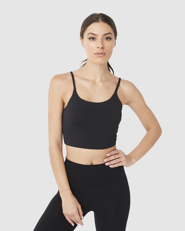 LADIES TSHIRTS & SINGLETS - LUXE CROP TOP BLACK