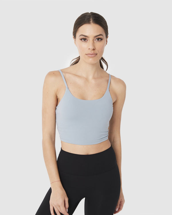LADIES TSHIRTS & SINGLETS - LUXE CROP TOP DUSTY BLUE