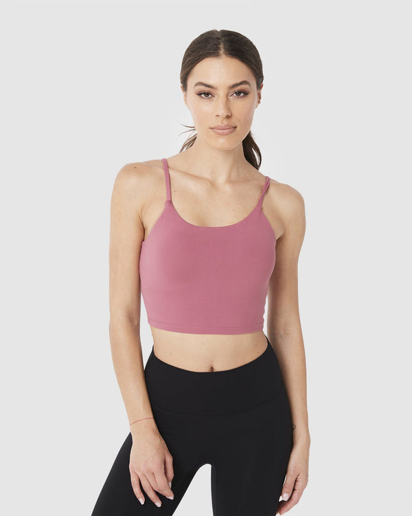 LADIES TSHIRTS & SINGLETS - LUXE CROP TOP DUSTY ROSE