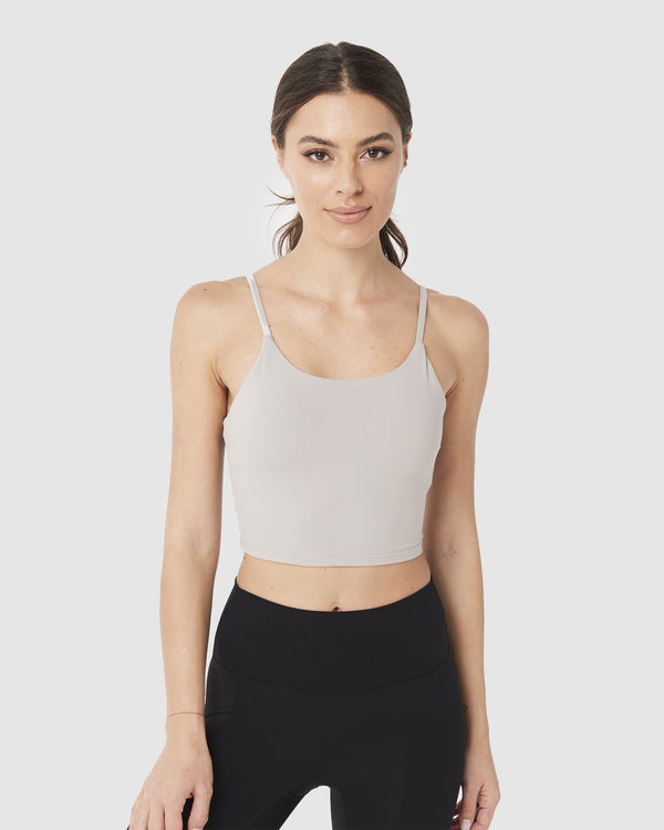 LADIES TSHIRTS & SINGLETS - LUXE CROP TOP LIGHT GREY