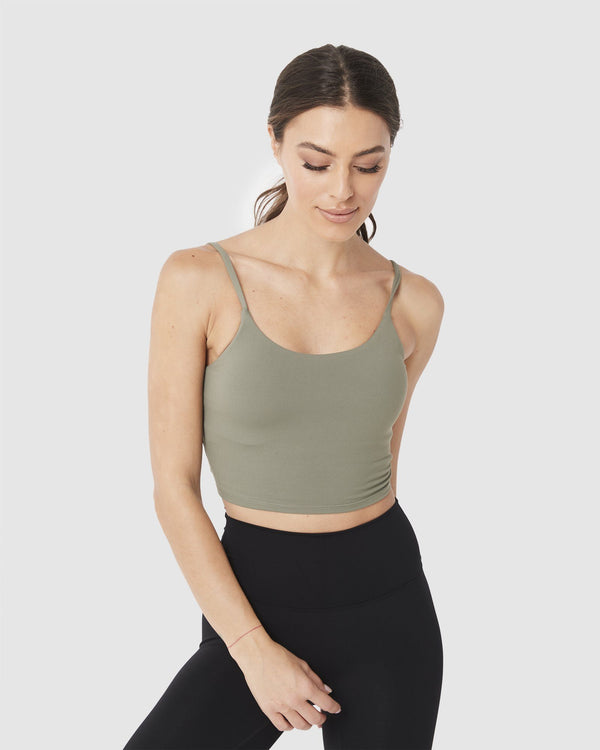 LADIES TSHIRTS & SINGLETS - LUXE CROP TOP OLIVE