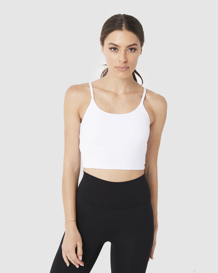 LADIES TSHIRTS & SINGLETS - LUXE CROP TOP WHITE