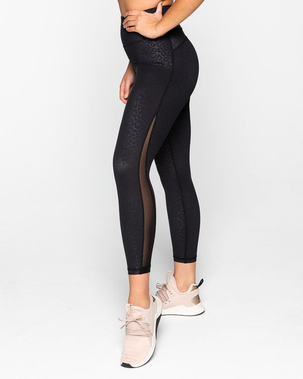LEGGINGS - BREATHE 7/8 LEGGINGS BLACK LEOPARD
