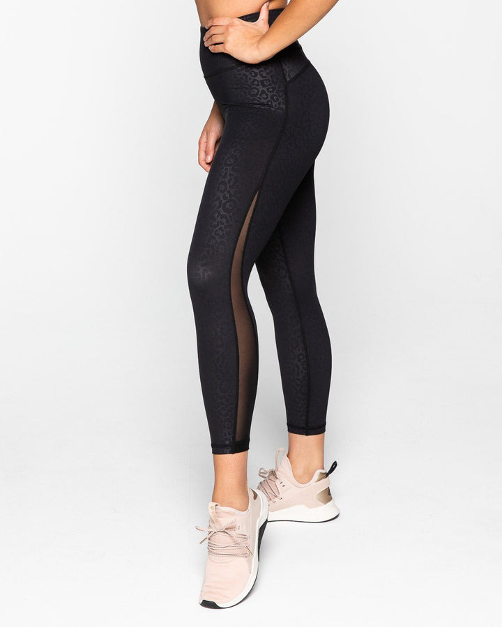 BREATHE 7/8 LEGGINGS BLACK LEOPARD