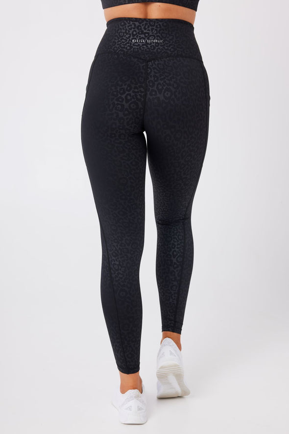 LEGGINGS - ELEVATE FULL LEGGINGS BLACK LEOPARD