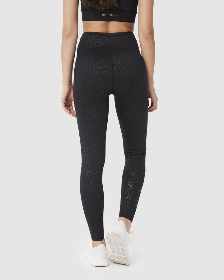 LEGGINGS - INSPIRE FULL LEGGINGS BLACK LEOPARD
