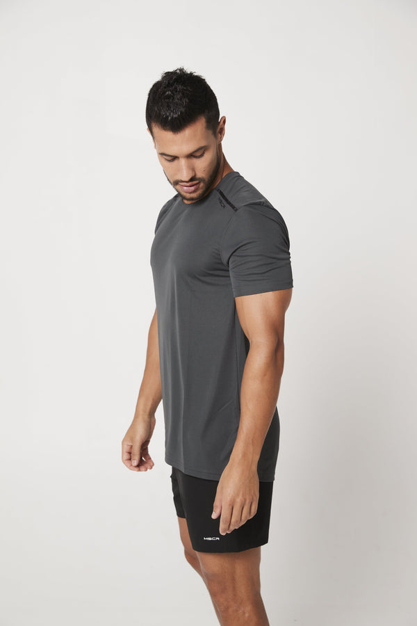 MENS TOPS - ASPIRE TRAINING TEE CHARCOAL
