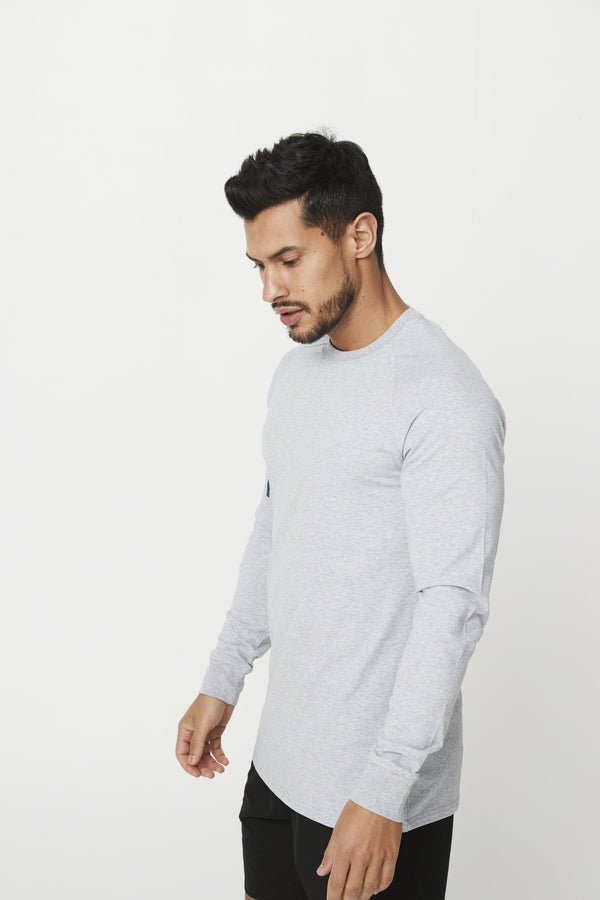 MENS TOPS - MEN'S CREED LONG SLEEVE GREY MARLE