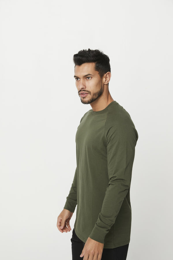 MENS TOPS - MEN'S CREED LONG SLEEVE KHAKI