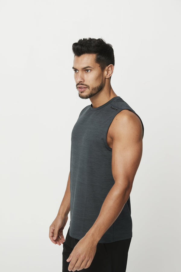 MENS TOPS - PHOENIX SLEEVELESS TANK CHARCOAL BLACK