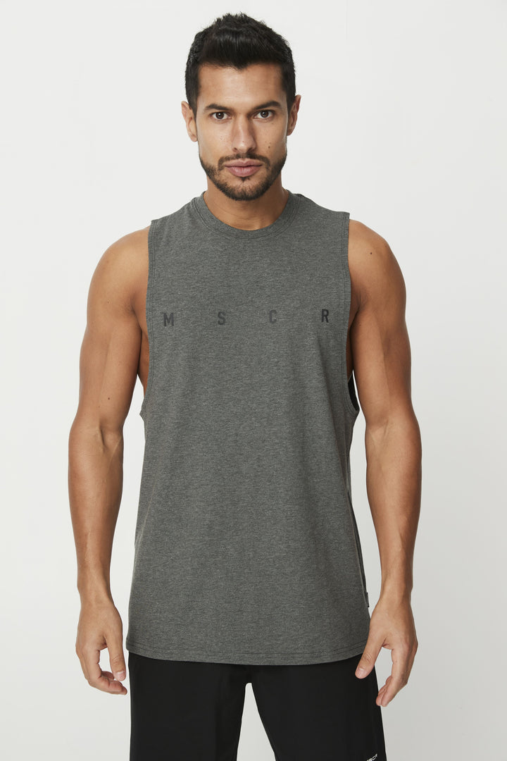 MENS TOPS - ROCKY MUSCLE TEE CHARCOAL (M S C R)