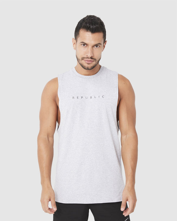 MENS TOPS - ROCKY MUSCLE TEE GREY MARLE TONAL