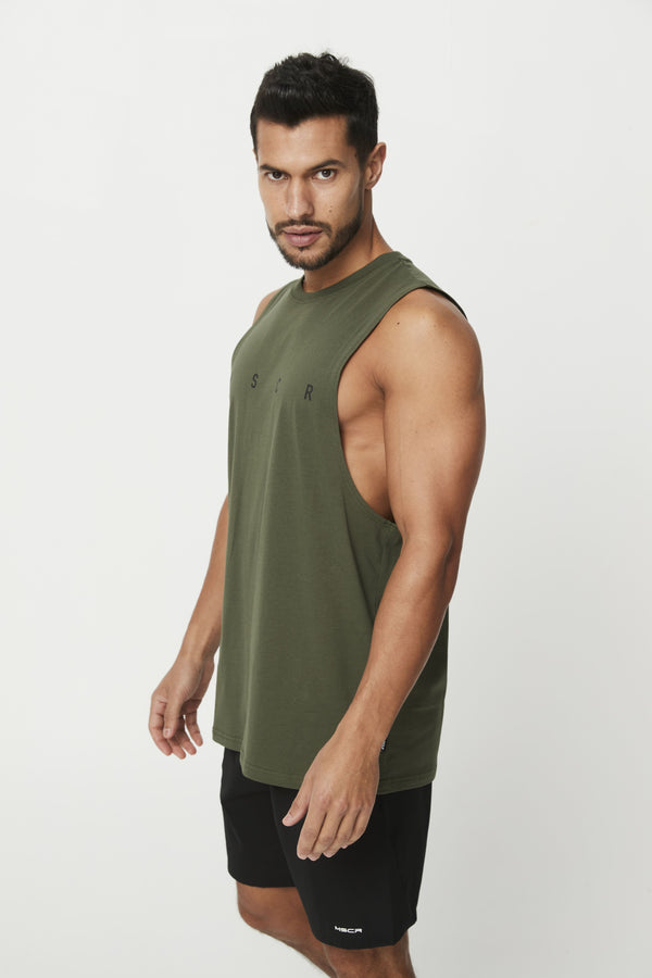MENS TOPS - ROCKY MUSCLE TEE KHAKI (M S C R)