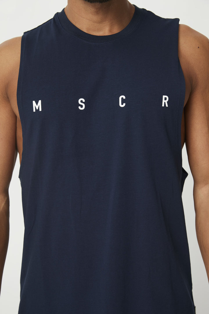 MENS TOPS - ROCKY MUSCLE TEE NAVY (M S C R)
