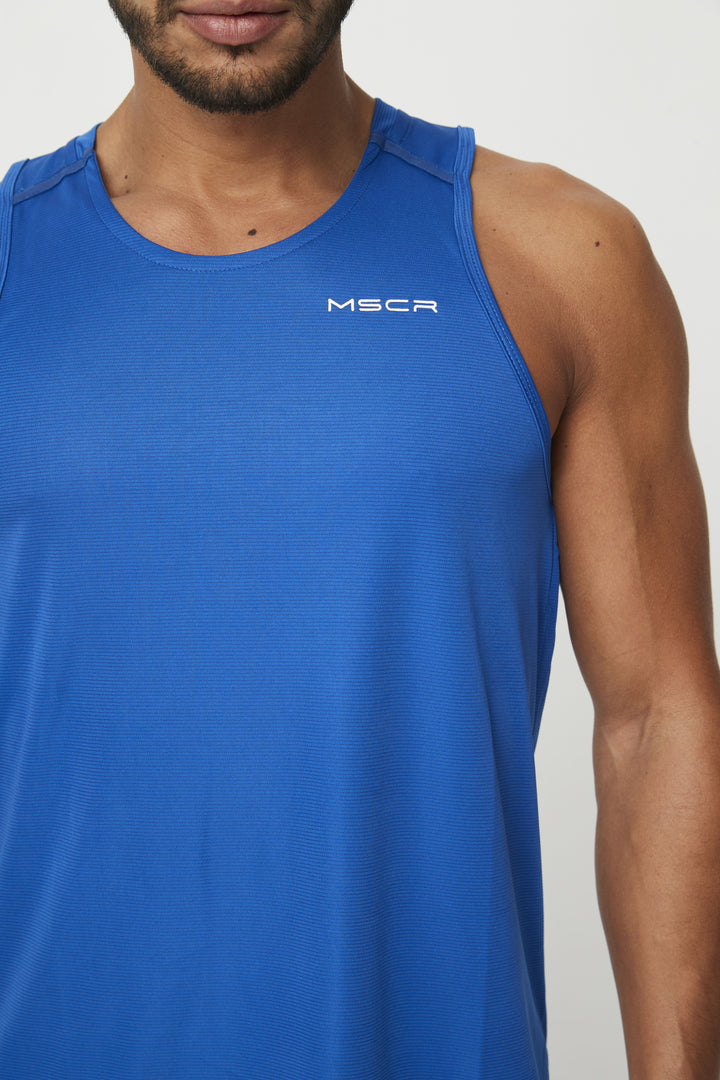 MENS TOPS - RUN TANK BLUE