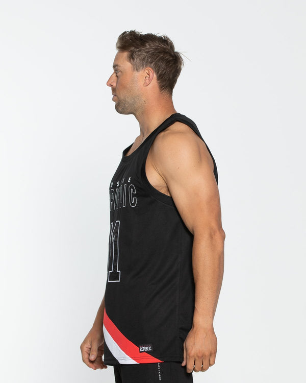 MENS TSHIRTS & SINGLETS - Basketball Tank Black