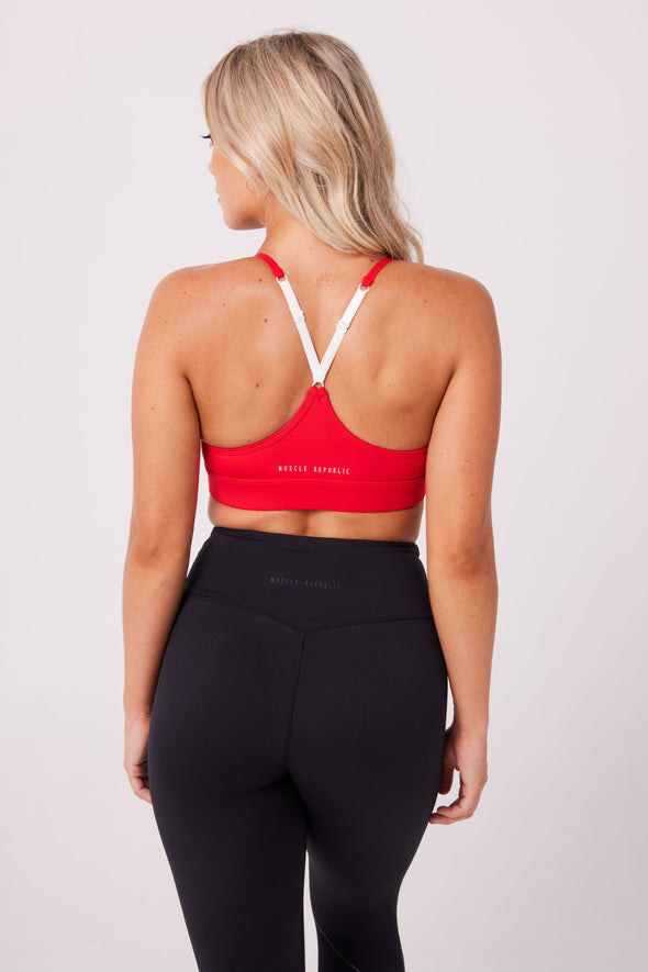 SPORTS BRAS & CROPS - FLICK BRA RED
