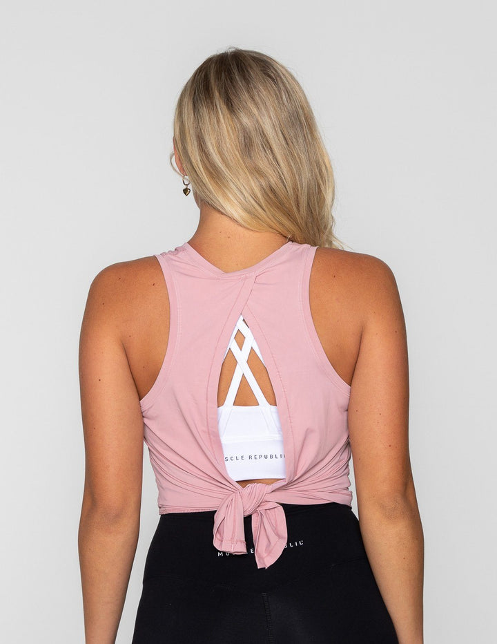 LUXE TIE BACK TANK PINK