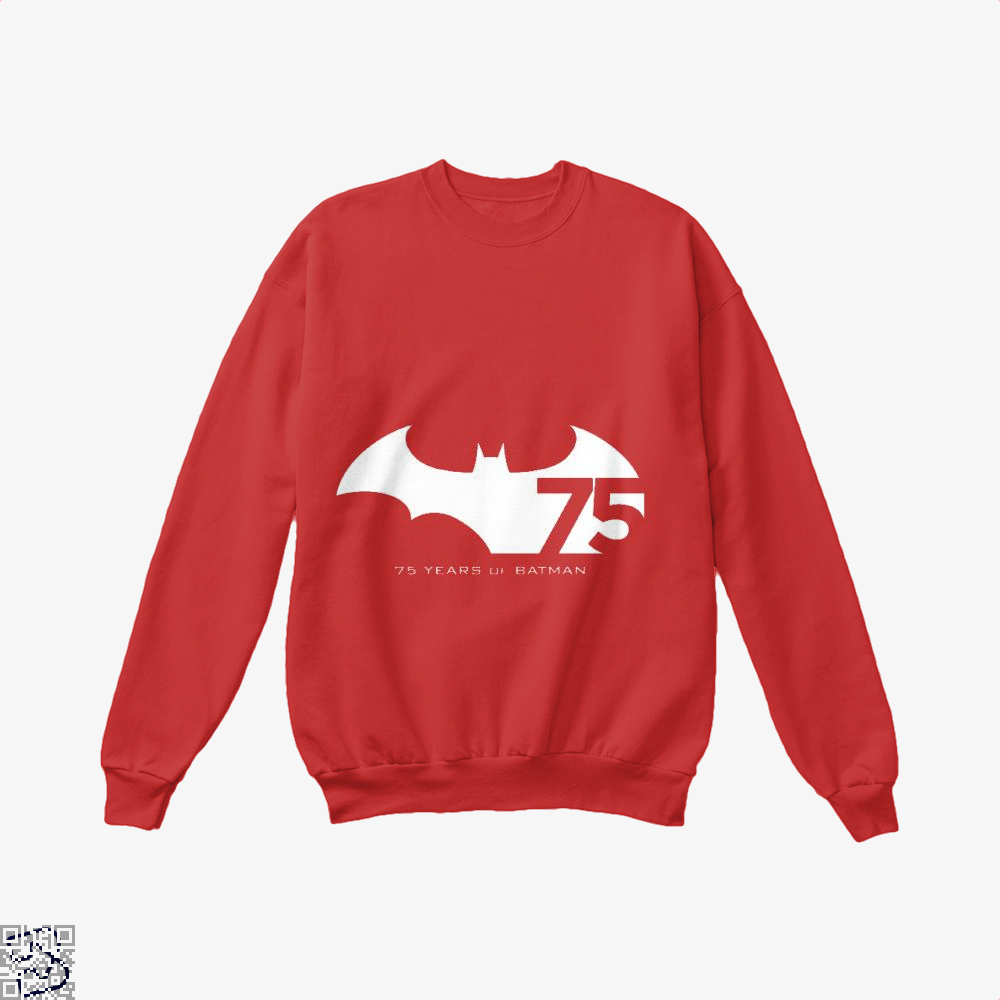 75 Years Of Batman Crew Neck Sweatshirt - Red / X-Small - Productgenjpg