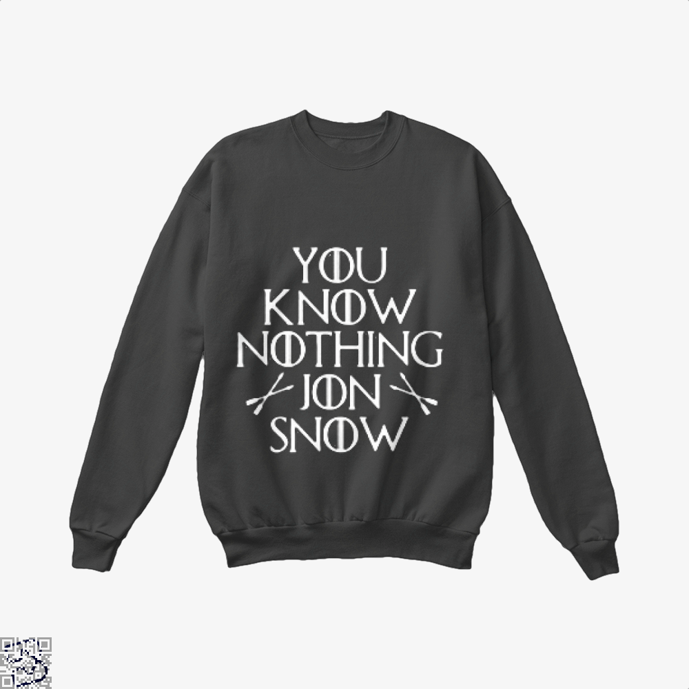 Adult You Know Nothing Jon Snow Game Of Thrones Crew Neck Sweatshirt - Black / X-Small - Productgenjpg