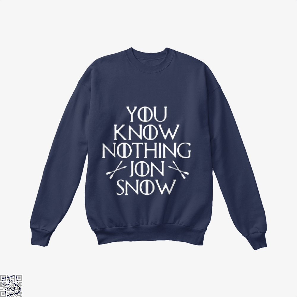 Adult You Know Nothing Jon Snow Game Of Thrones Crew Neck Sweatshirt - Blue / X-Small - Productgenjpg