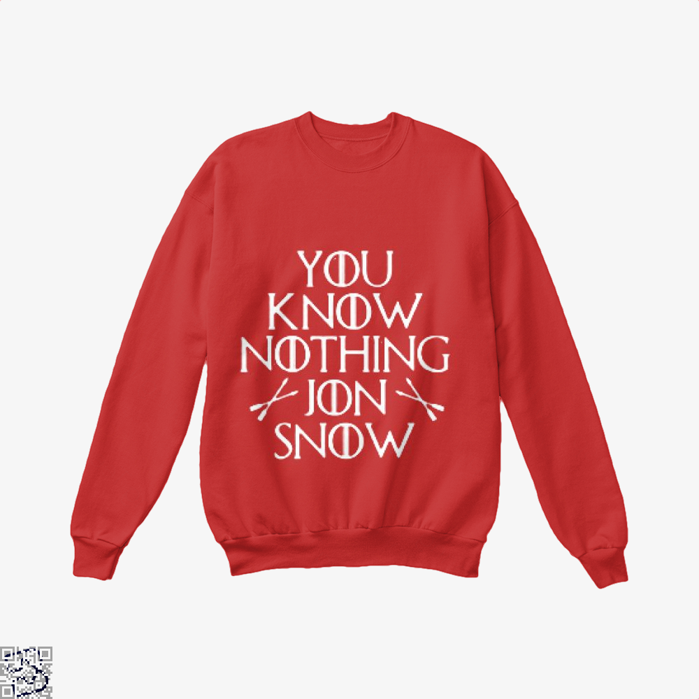Adult You Know Nothing Jon Snow Game Of Thrones Crew Neck Sweatshirt - Red / X-Small - Productgenjpg