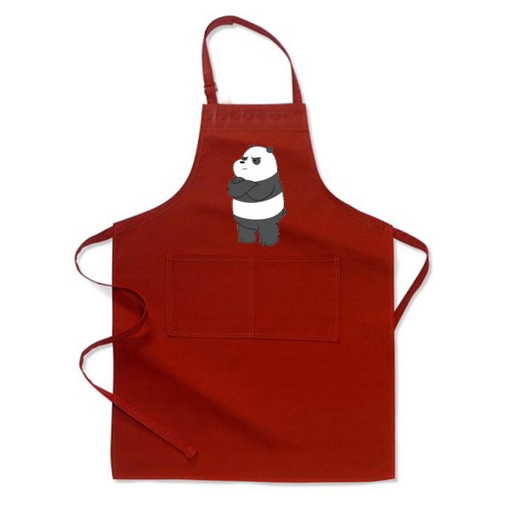 Angry Panda Bear We Bare Bears Apron - Red / Polyester - Productgenapi