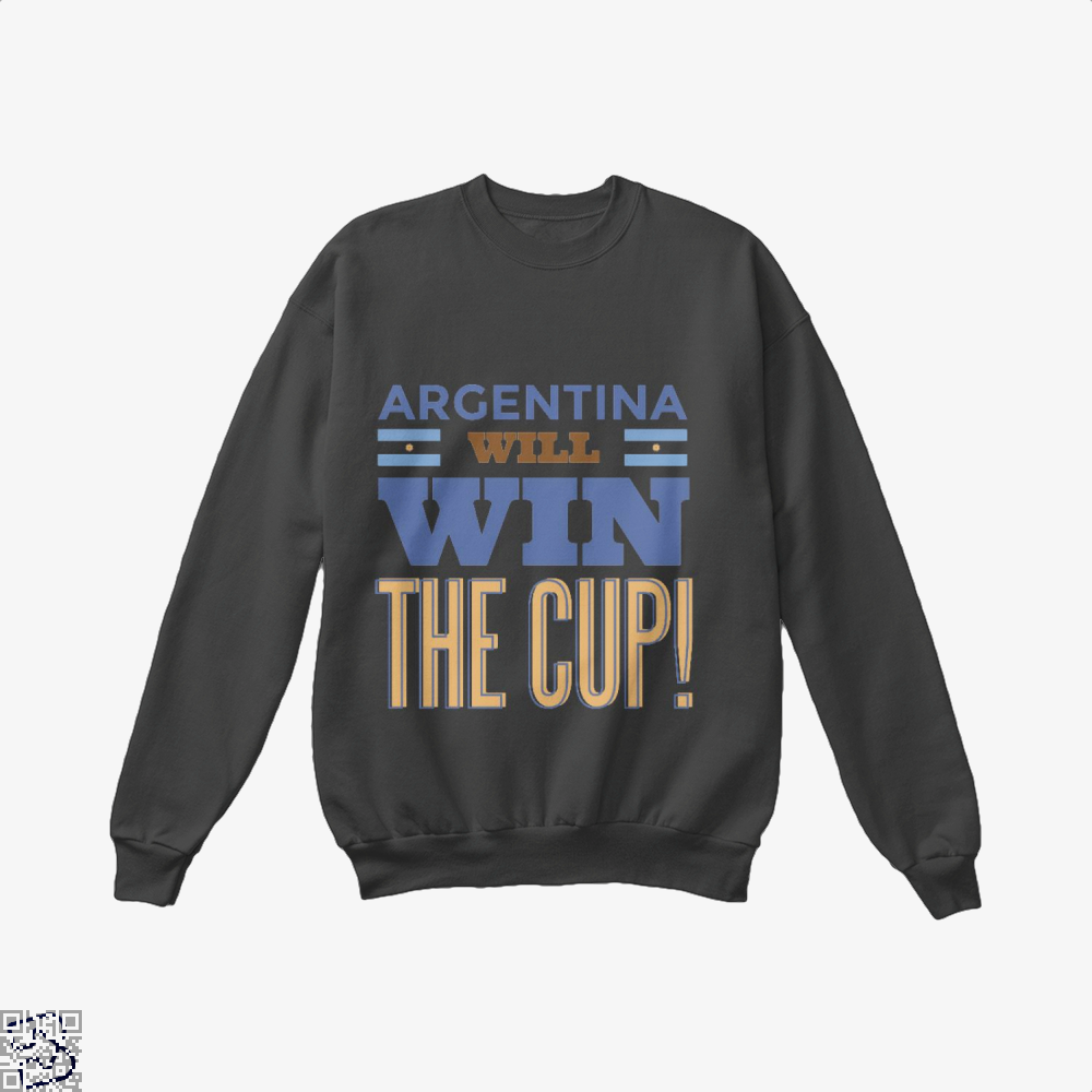 Argentina Will Win The Cup Fifa World Crew Neck Sweatshirt - Black / X-Small - Productgenapi