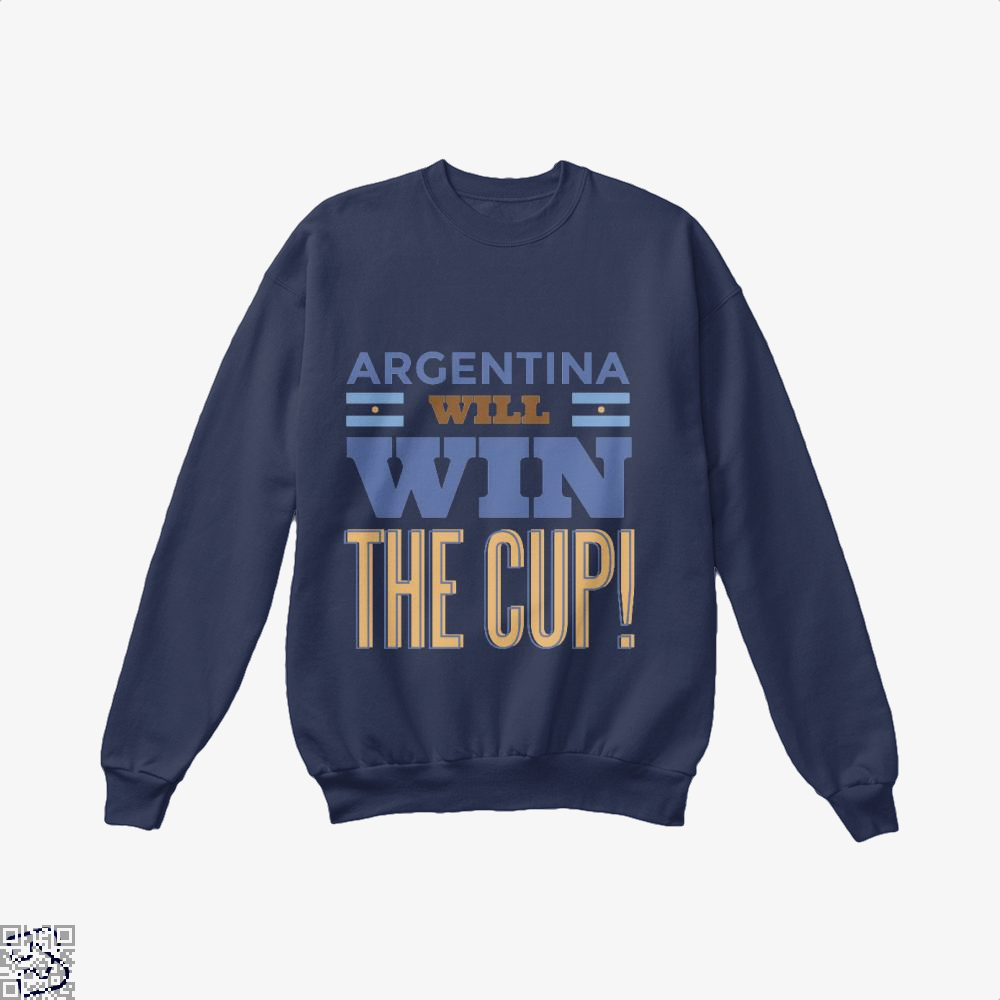 Argentina Will Win The Cup Fifa World Crew Neck Sweatshirt - Blue / X-Small - Productgenapi