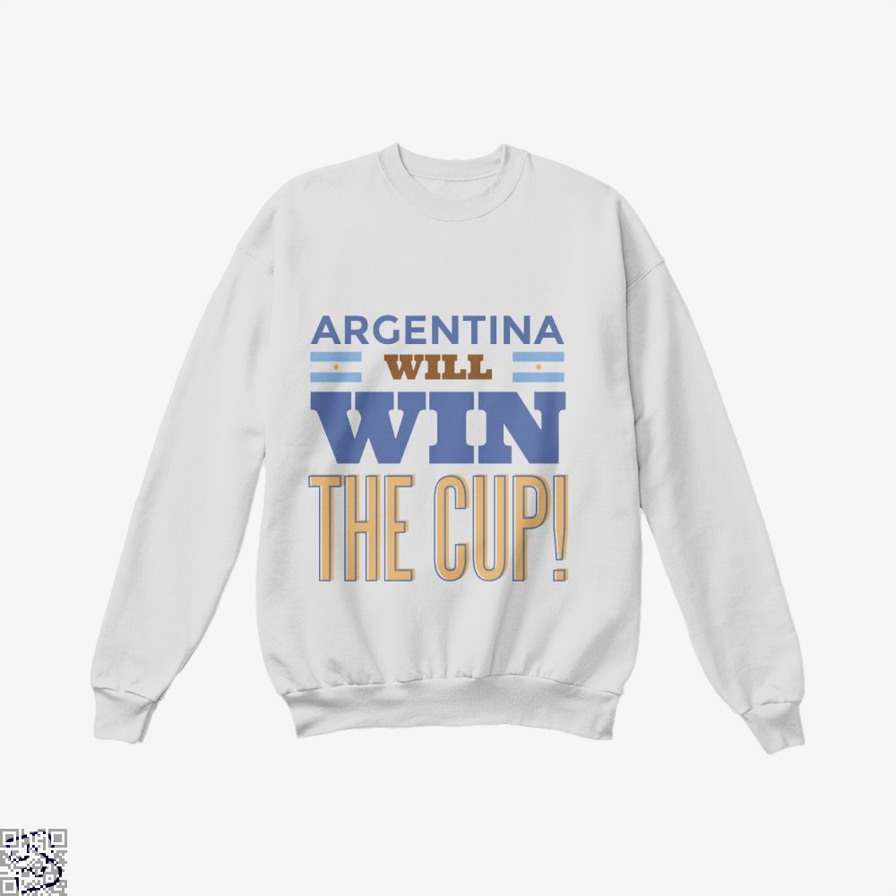 Argentina Will Win The Cup Fifa World Crew Neck Sweatshirt - White / X-Small - Productgenapi