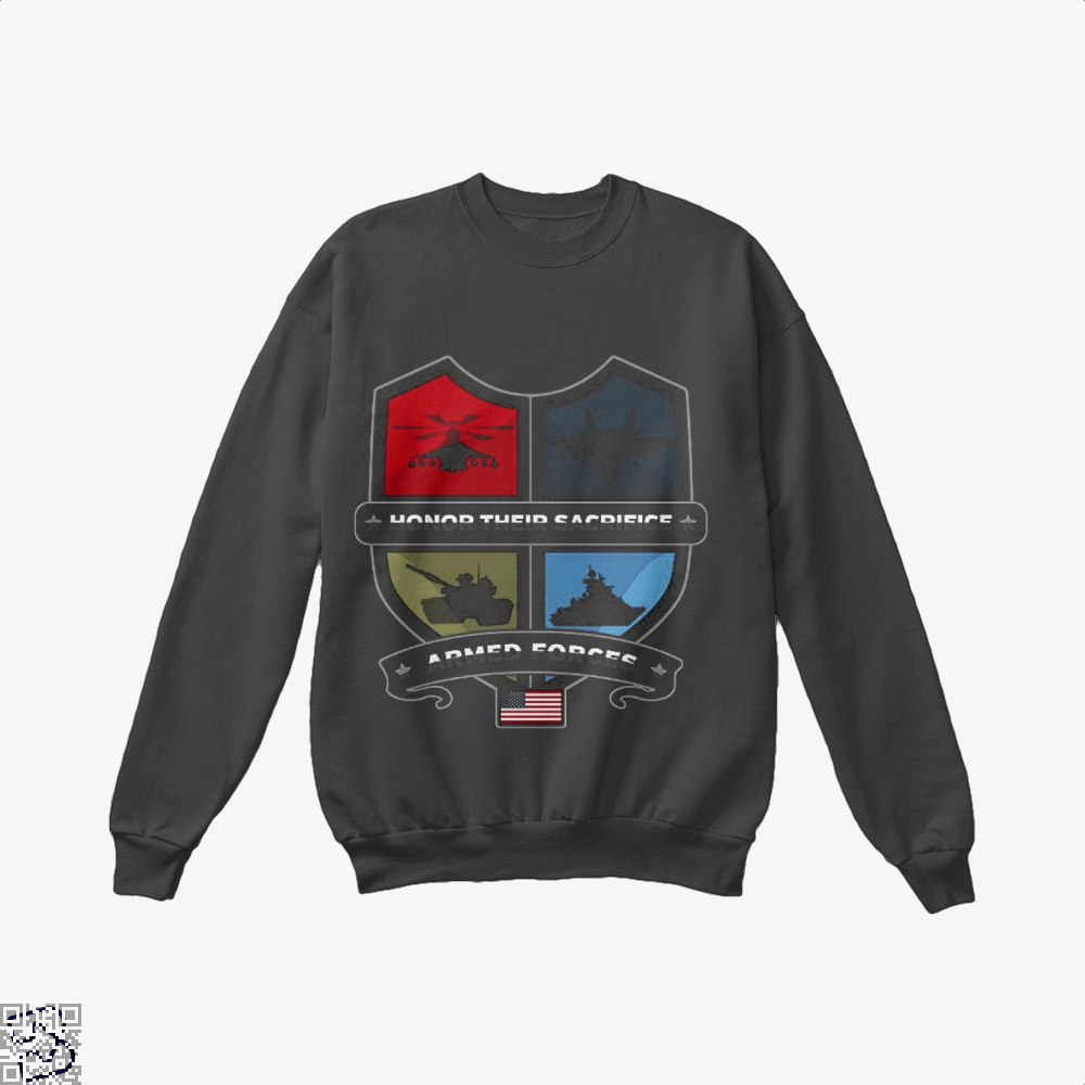 Armed Forcesday Honor Their Sacrifice Militar Deadpan Crew Neck Sweatshirt - Black / X-Small - Productgenjpg