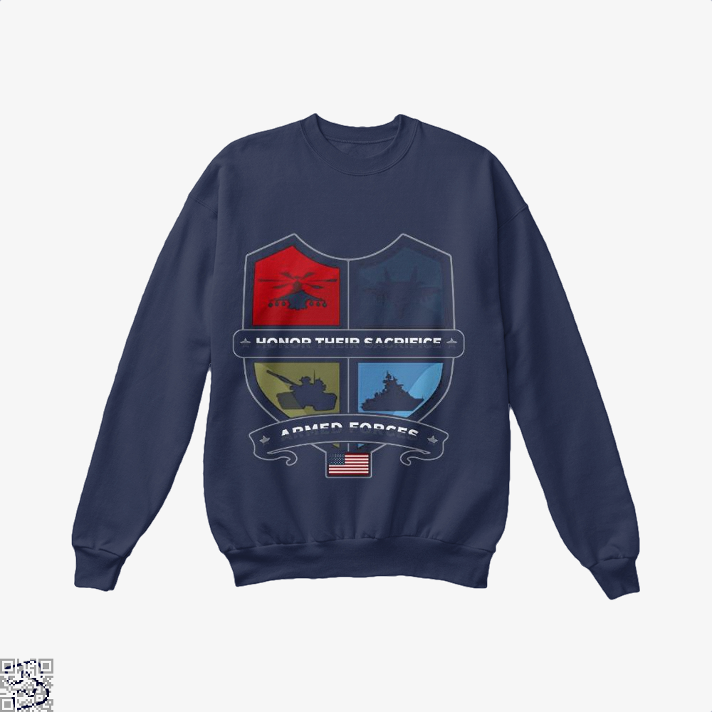 Armed Forcesday Honor Their Sacrifice Militar Deadpan Crew Neck Sweatshirt - Blue / X-Small - Productgenjpg