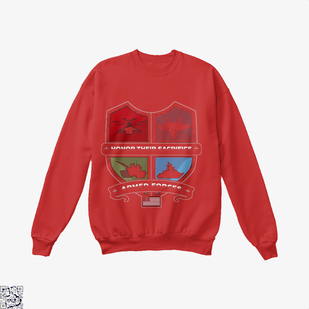 Armed Forcesday Honor Their Sacrifice Militar Deadpan Crew Neck Sweatshirt - Red / X-Small - Productgenjpg